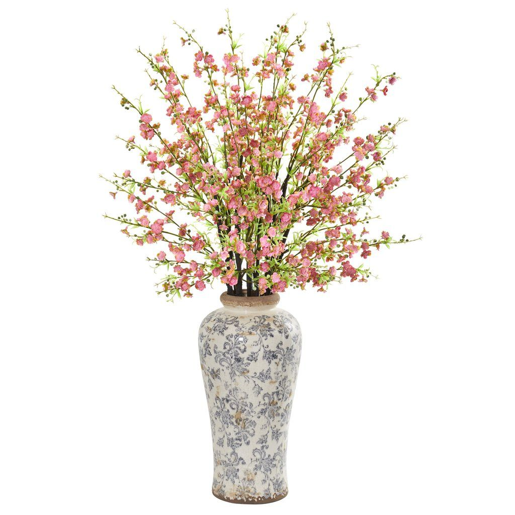 37 Cherry Blossom Artificial Arrangement In Decorative Vase Vases Decor Artificial Flowers Flower Arrangements Center Pieces