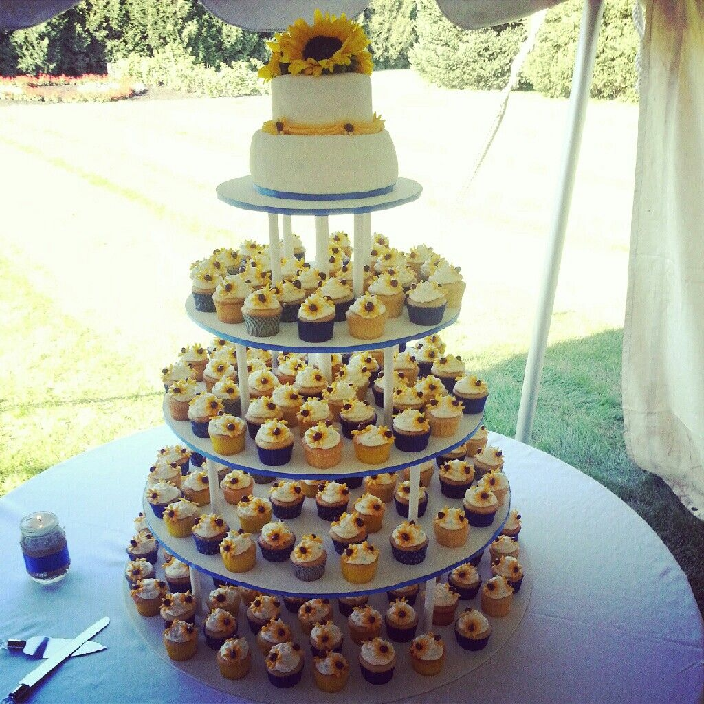 Sunflower Wedding Cake Ideas: Ebru's Amazing Sunflower Wedding Cake Made Of Cupcakes