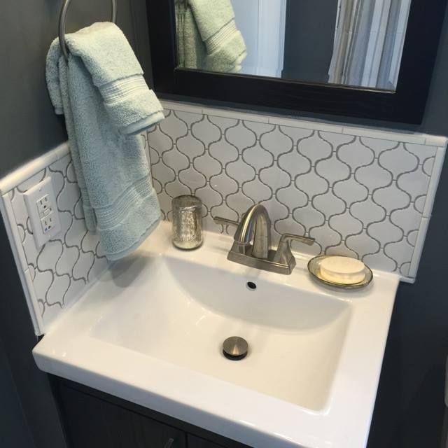 @aotile Vaughn Gloss White Glazed Porcelain Mosaic Tile Backsplash In Bathroom @oldhomemystyle