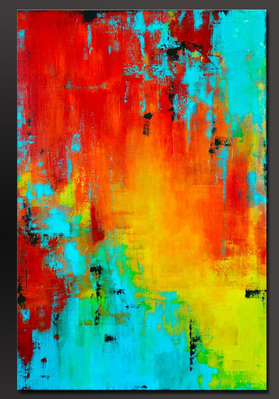 Prism 36 X 24 Abstract Acrylic Painting Contemporary Wall Art Modern Colorful