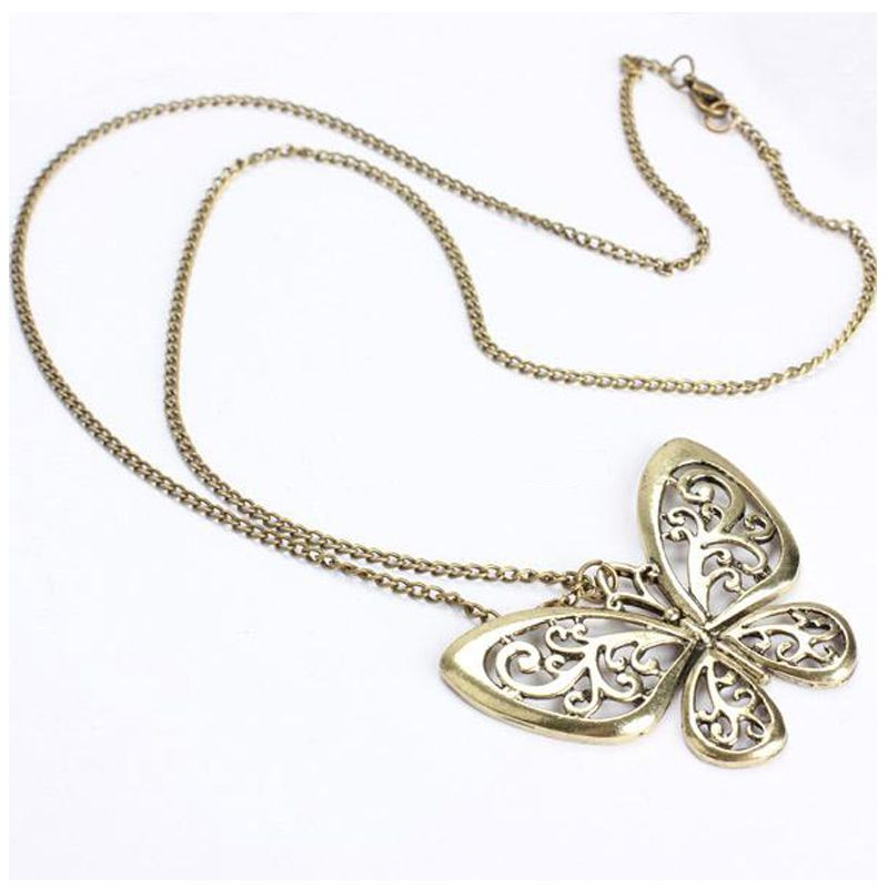 Womens Fashion Retro Carved Butterfly Pendant Long Chain Sweater ...
