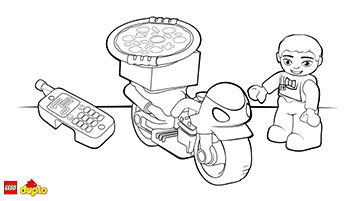 lego duplo pizza delivery bike coloring page legos pinterest