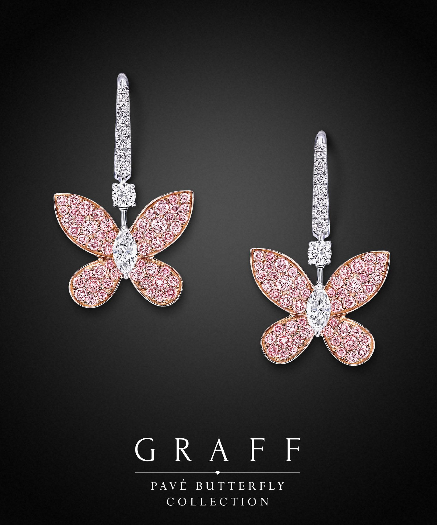 dangle gold jewelry pave sapphire white diamond and butterfly classic graff earrings full