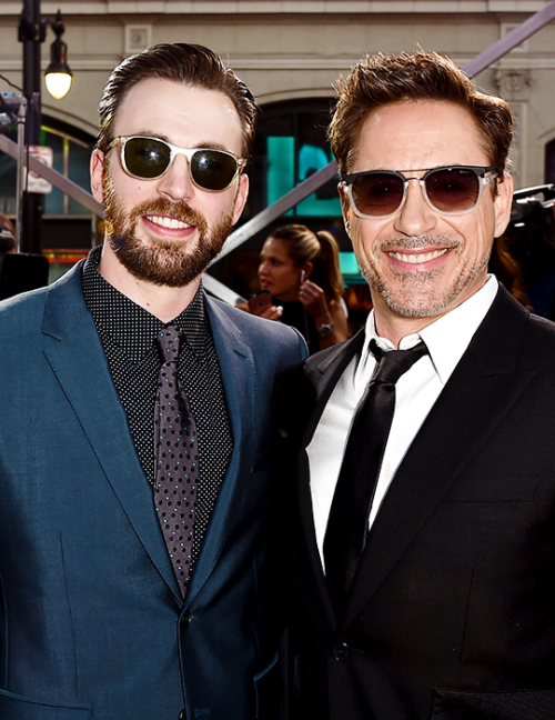 Chris Evans and Robert Downey Jr. attend the premiere of Marvel's 'Captain America: Civil War' at Dolby Theatre on April 12, 2016 in Los Angeles, California