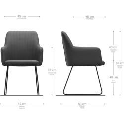 Photo of Delife armchair Greg -Flex gray vintage sled base stainless steel, dining chairs DeLifeDeLife