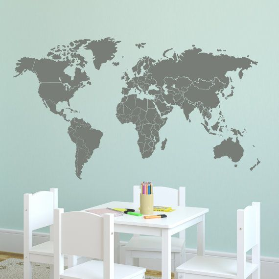 wall map decal 72w large world map with countries borders etsy