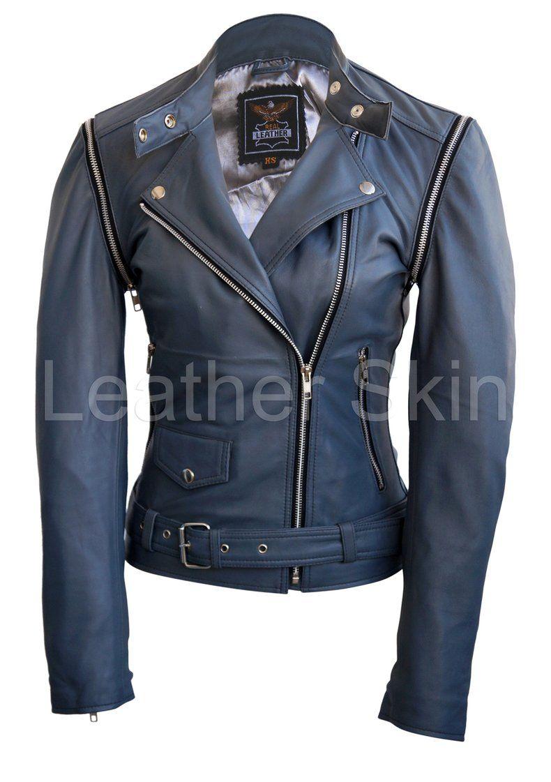 Leather Skin Women Gray Grey Brando Genuine Leather Jacket Grey Leather Jacket Leather Jackets Women Leather Jacket
