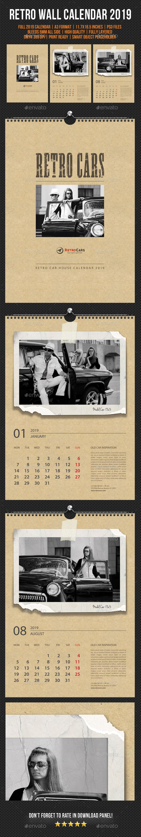 Wall Calendar 2019 Retro Photo #wall calendar template #month Download :  https:/