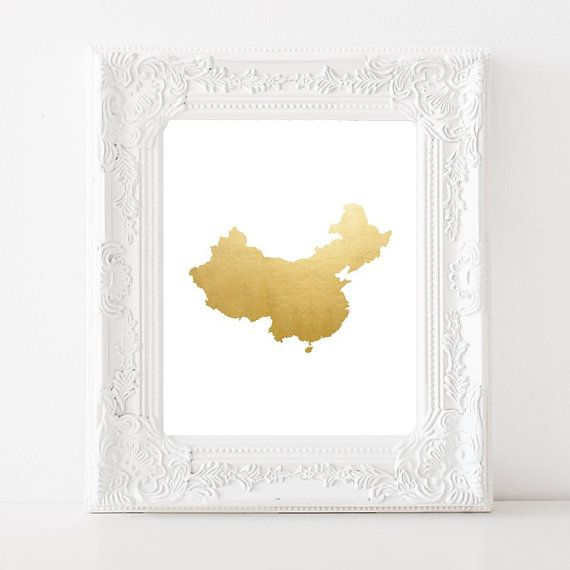 China Gold Foil Map Print Country China Art Map Wall by Suselis