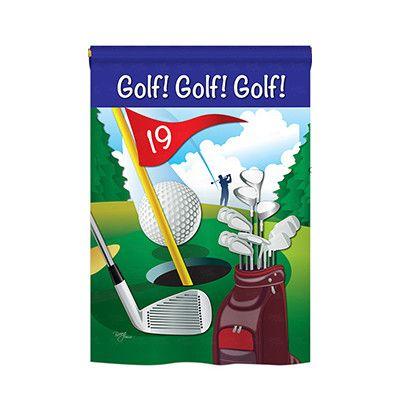 "TwoGroupFlagCo Golf!, Golf!, Golf! 2-Sided Vertical Flag Size: 40"" H x 28"" W"