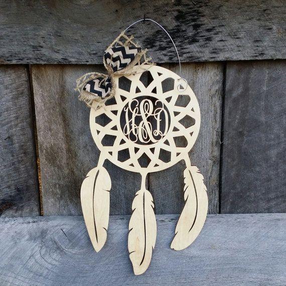 ... Wooden Dream Catcher With Monogram Baby M Pinterest Dream   Healthcare  Door Hanger ...
