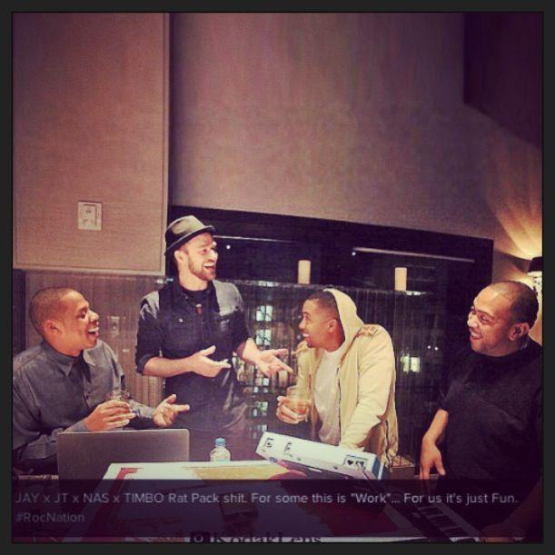 Jayz, Justintimberlake, Nas, Timbaland best pic ever! #studiolife #cantwait