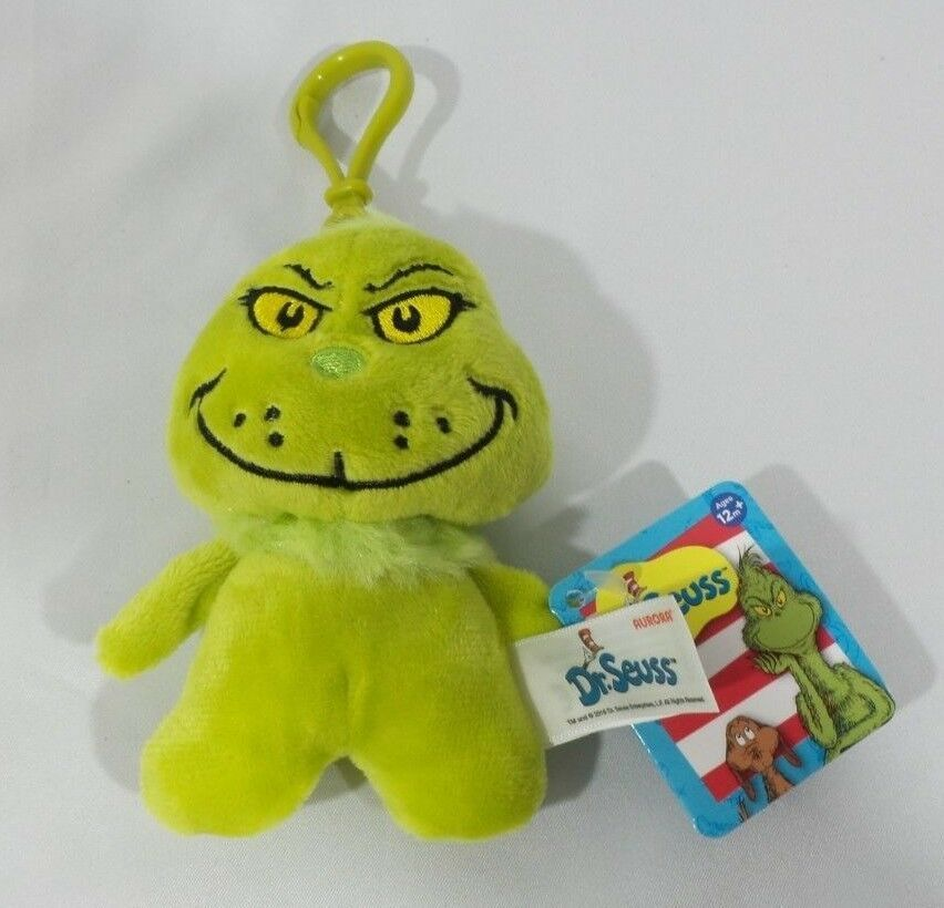 Seuss The Grinch Collectible Plush Keychain NEW Aurora Dr