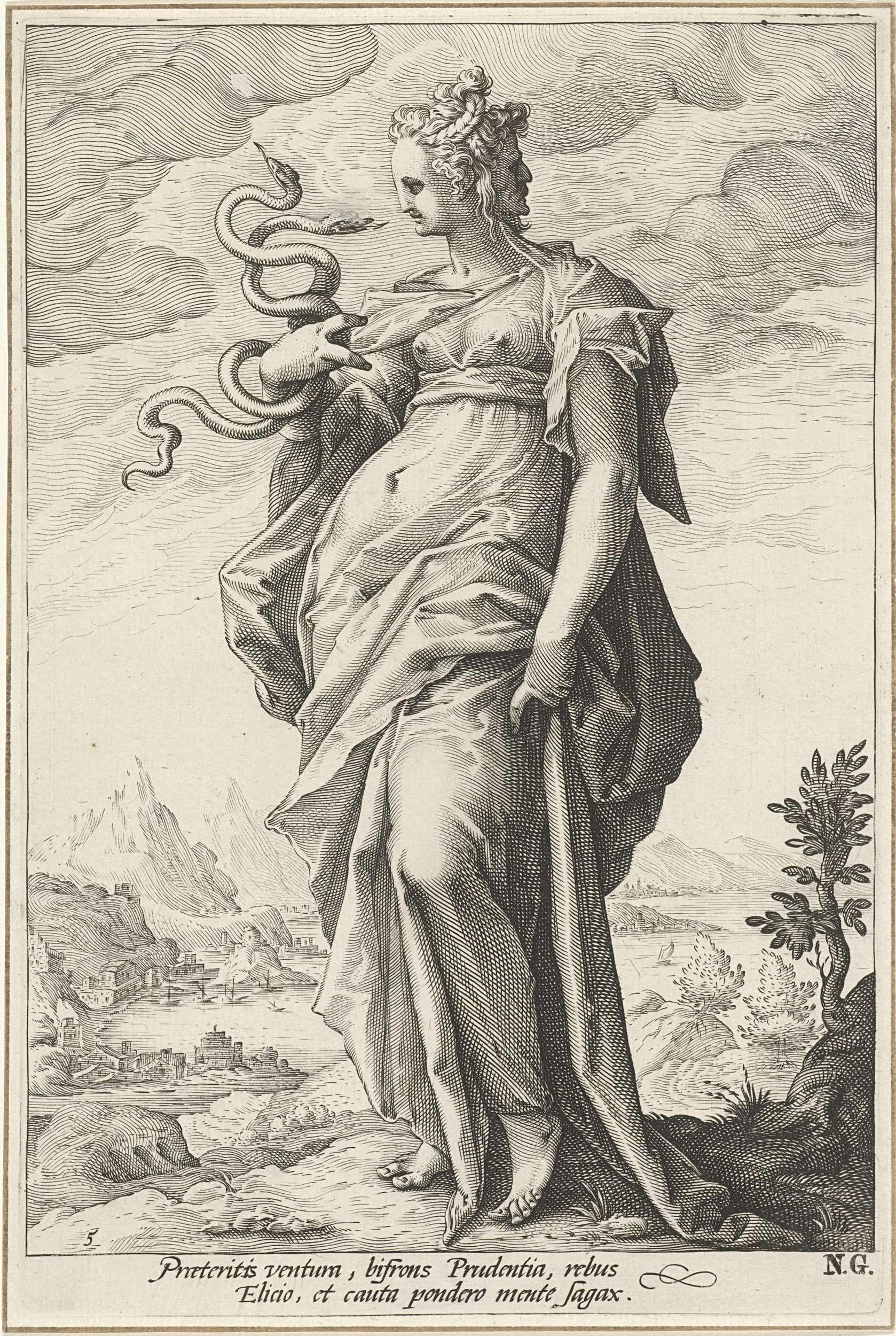 Hendrick Goltzius | Voorzichtigheid (Prudentia), Hendrick Goltzius, 1585 - 1589 | De gepersonifieerde Voorzichtheid; een vrouwenfiguur met twee slangen in haar hand en een tweede gezicht op haar achterhoofd.