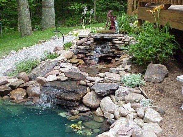 pflanzen garten wasserteich gestaltung mit flusssteinen ideen - Gartenteich Ideen