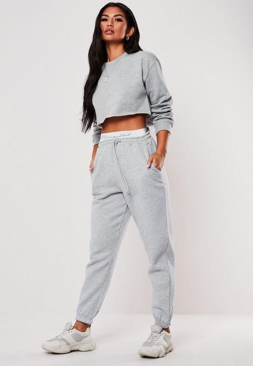 Missguided - Gray Missguided Taped Joggers