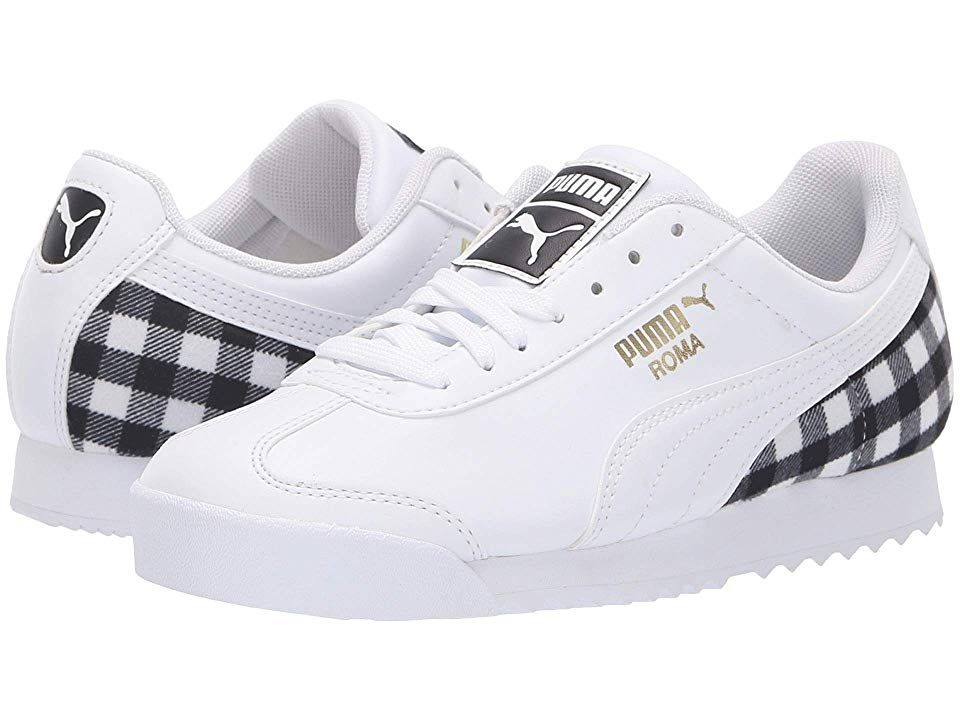 09fb7b2745c9 Puma Kids Roma Leather Flannel Jr (Big Kid) Kids Shoes Puma White Puma Team  Gold Puma Black