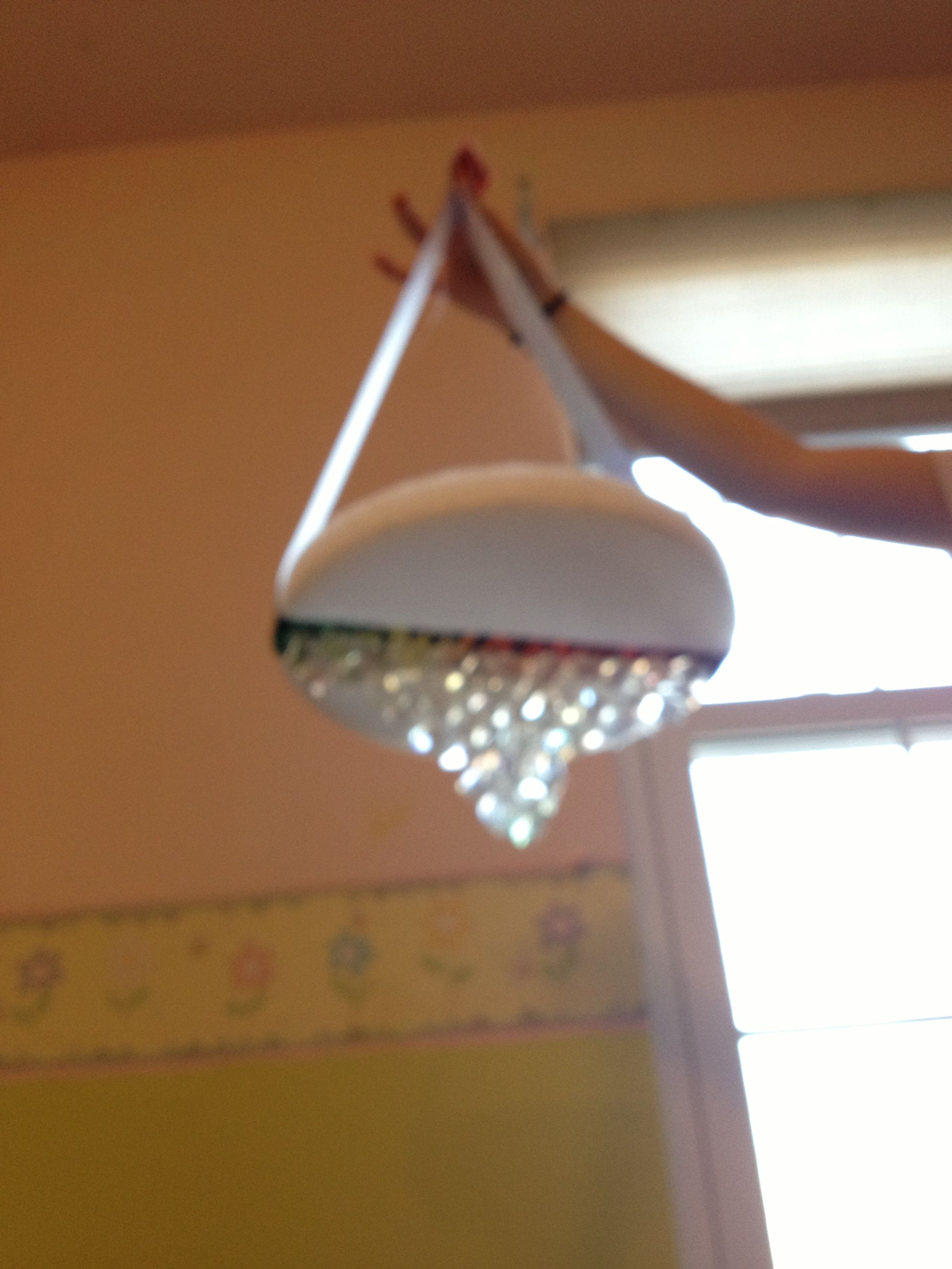D I Y crystal chandelier with plastic gems hot glue ribbon and