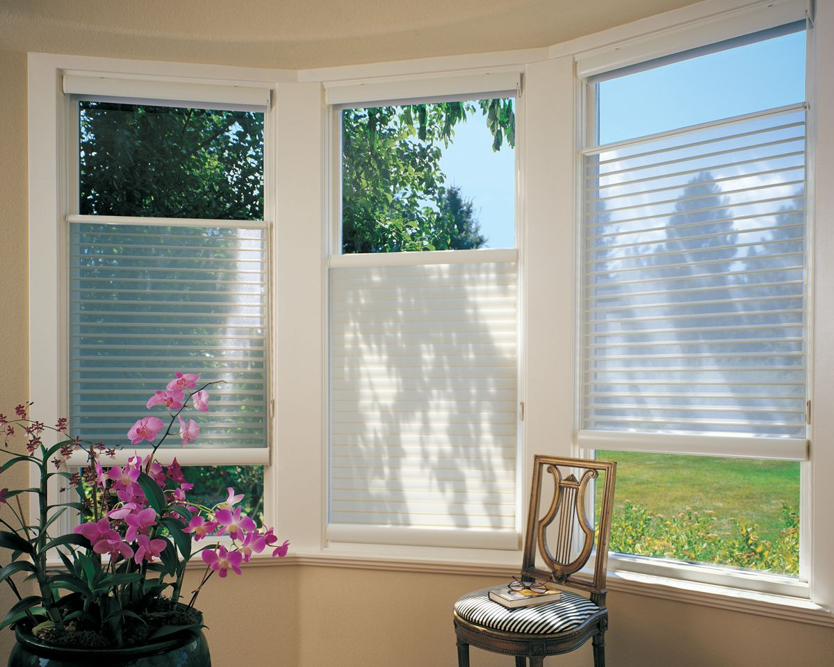 Up Down White Hunter Douglas Silhouette Blinds Were