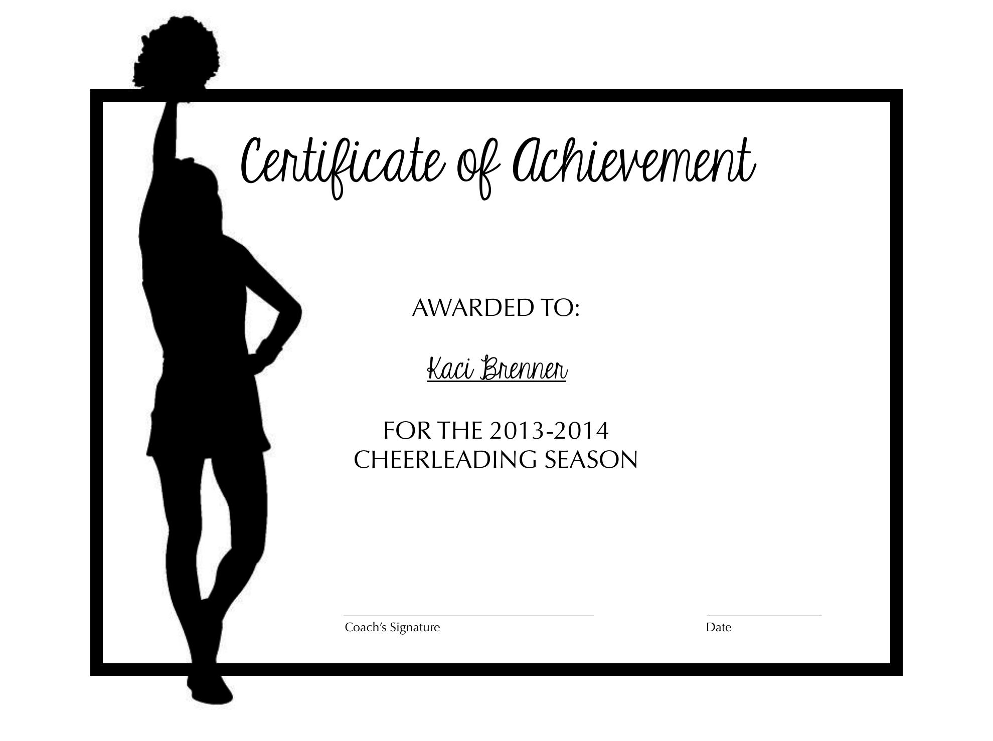 Cheerleading certificate of achievement cheer pinterest cheer cheerleading and cheer coaches for Cheerleading templates printable