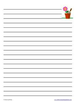 Spring Lined Writing Paper,A4 Lined Paper Templates  Lined Paper With Picture