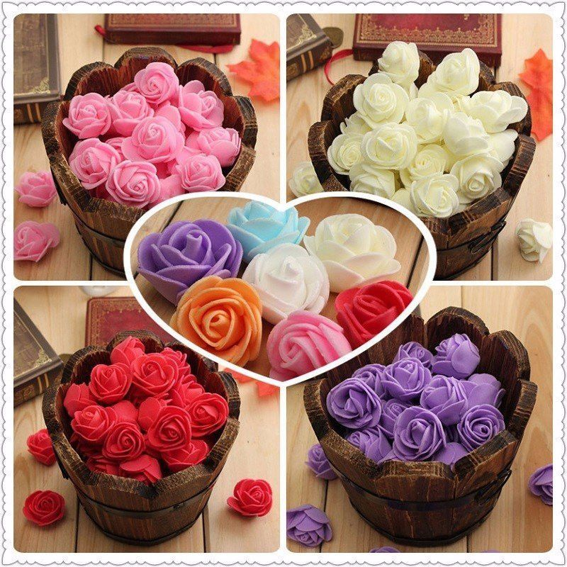 Diy Wedding Decoration Ideas That Would Make Your Big Day: 50Pcs Colourfast Handmade Foam Rose Flowers Bouquet DIY