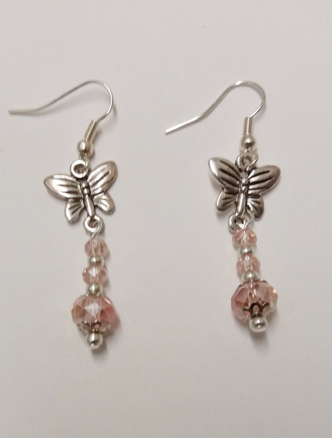 Gift idea. Birthday gift. Jewelry. Silver Butterfly Earrings.  Elegant earrings with pale pink crystals and silver plated elements