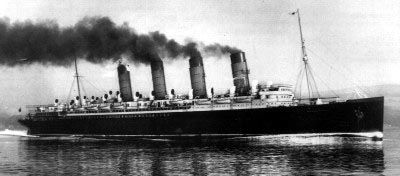 RMS Mauretania, of the Cunard line - Good blog about 1920s ships: 80 years ago, all the ships were powered by steam. Firing up an ocean liner such as the Mauretania, for example, or the Olympic or the Titanic, took hours…even days