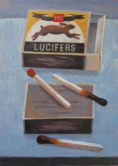 Marion de Man, Lucifers, Acryl op paneel, 33x24 cm, €.425,-