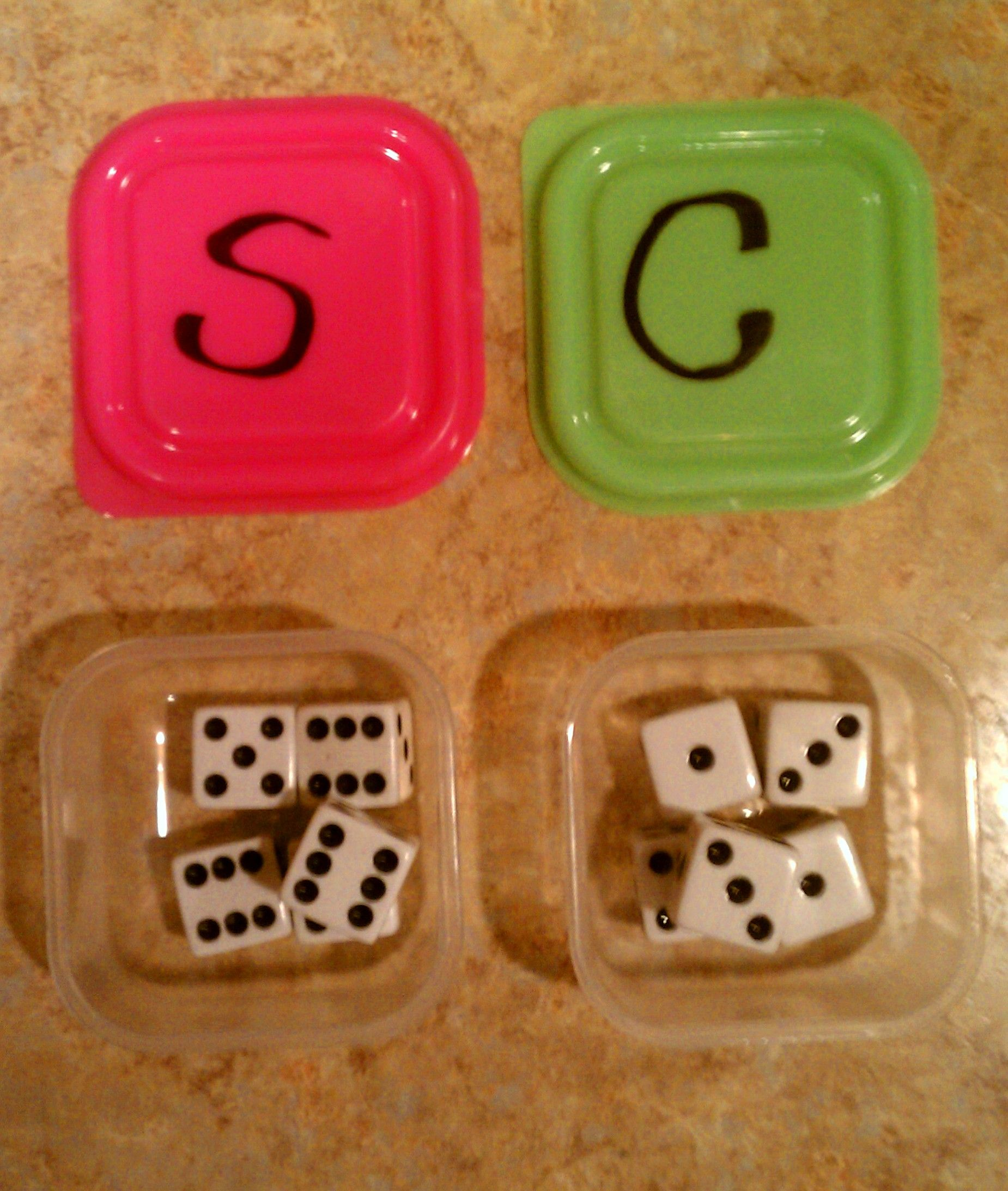 Inexpensive Math game I made for my 3 and 6 year old. Roll the dice ...