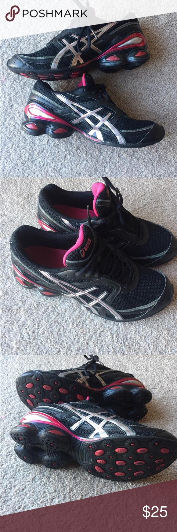 Women's ASICS tennis shoes. Pink/Black