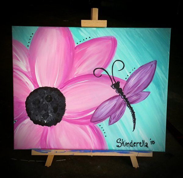 Flower And Dragonfly Original 16x20 Canvas Painting By Skinderella