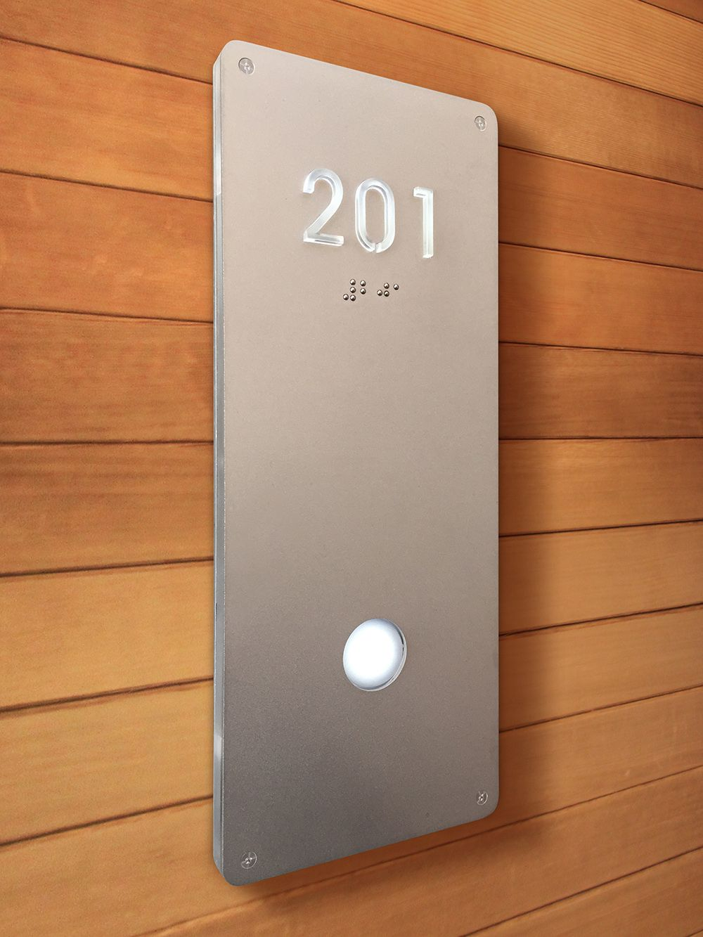 Luxello illuminated Modern Room Number Sign Braille surrounding
