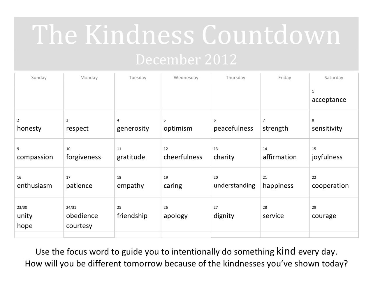 The Kindness Countdown Calendar