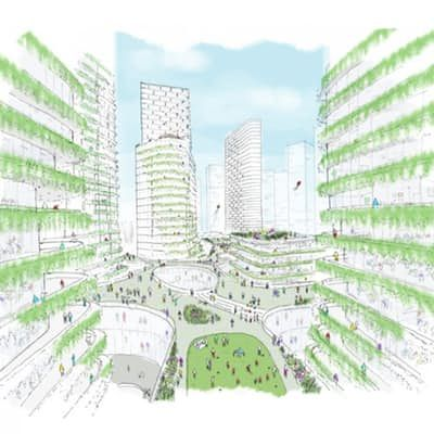 A Terrace Level rendering of the Miami Innovation District