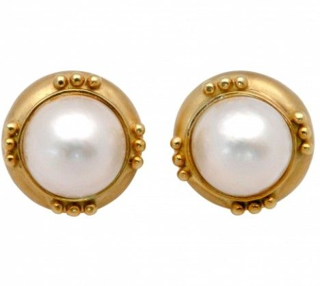 Large Mabe Pearl Earrings Surrounded By 18k Yellow Gold