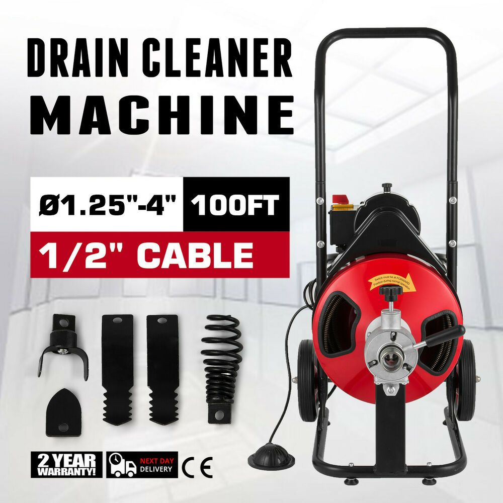 Sponsored Ebay 100ft X 3 8 Drain Cleaner 400w Drain Cleaning Machine Snake Sewer Clog W Cutter Drain Cleaner Cleaners Clean Machine