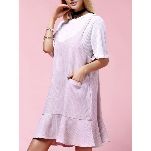Stylish Women's Plus Size Solid Color Overall Dress Twinset — 25.49 € Size: 2XL Color: PINK