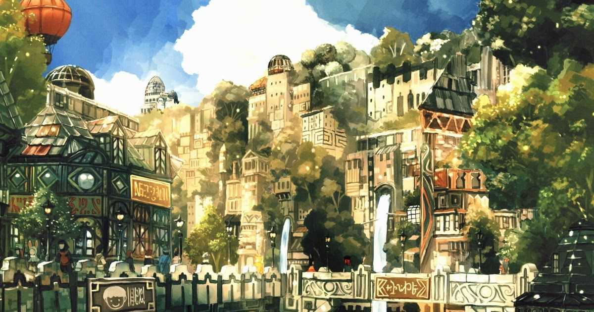 Anime Wallpapers 480x320 Fantasy City Anime City Fantasy Landscape