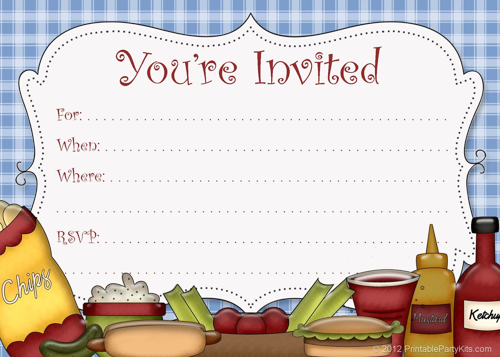 BBQ Picnic Invitations Free Printable Template