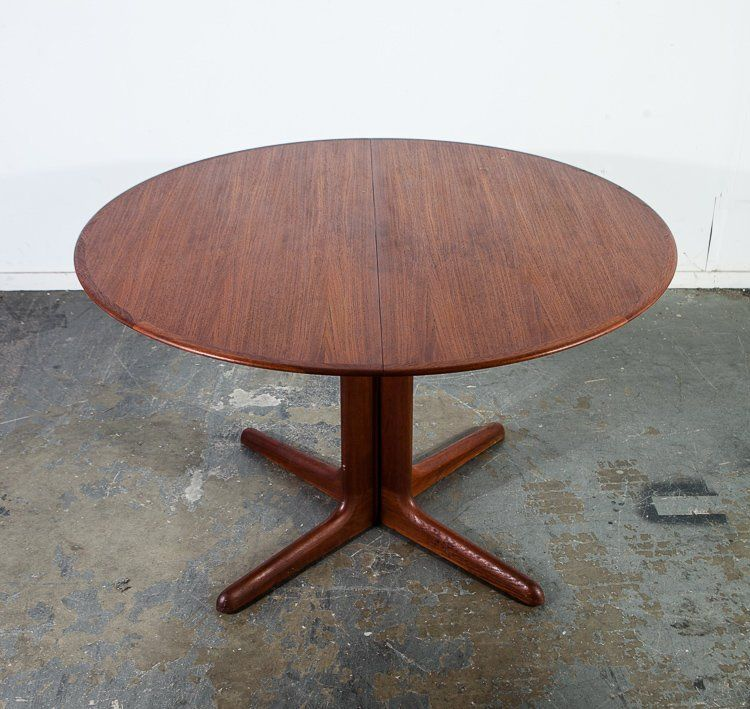 Mid Century Danish Modern Dining Table Teak Dyrlund Extension