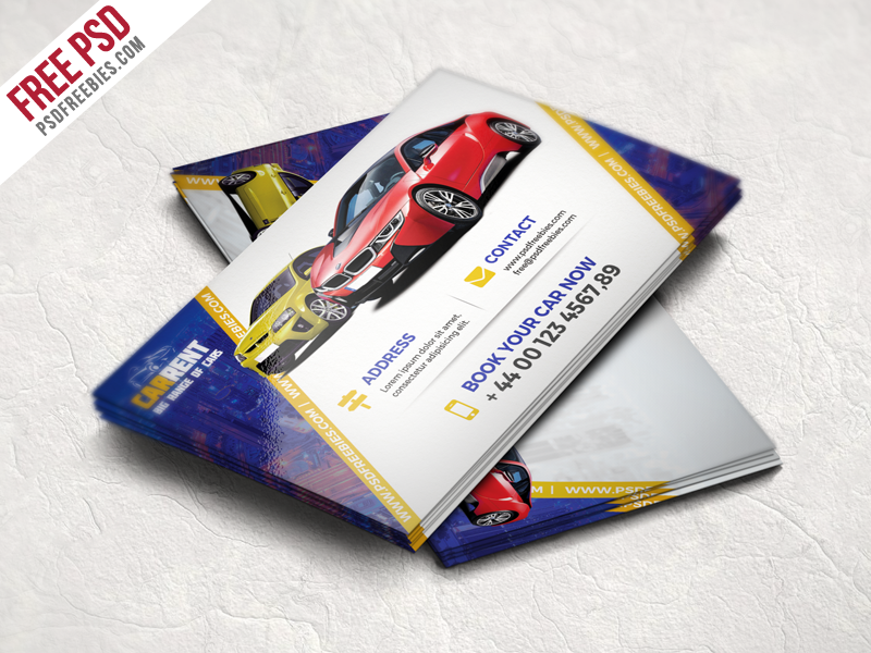 Car Dealer Business Card Template Free PSD | Free business cards ...