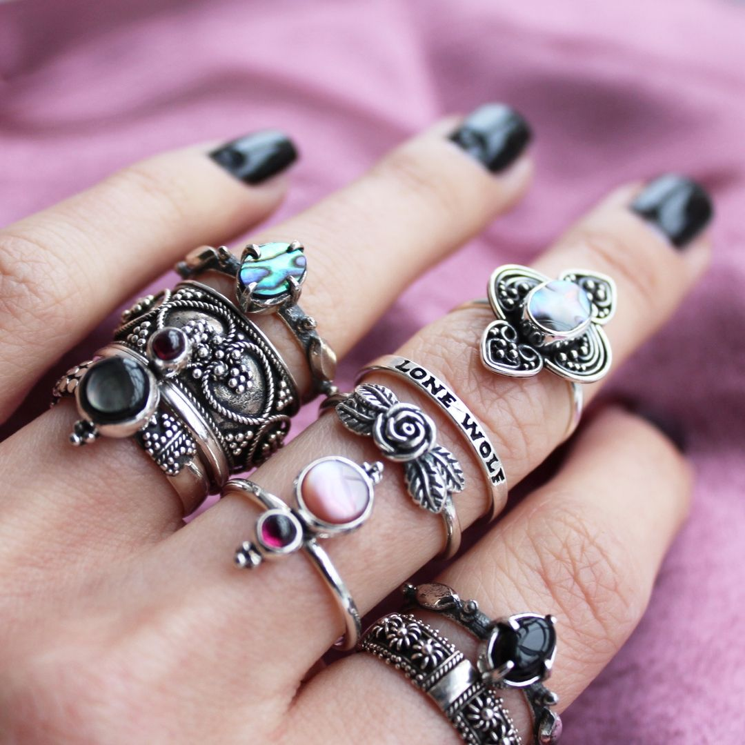 ∘✦★✦∘ END OF YEAR RING SALE is on! ★ Shop now at www.shopdixi.com ∘✦★✦∘ dixi // jewellery // jewelry // boho // bohemian // grunge // goth // dark // mystic // magic // witchy // christmas // festive // presents // gifts // rings // sterling silver // abalone // pearl // pink // moonstone