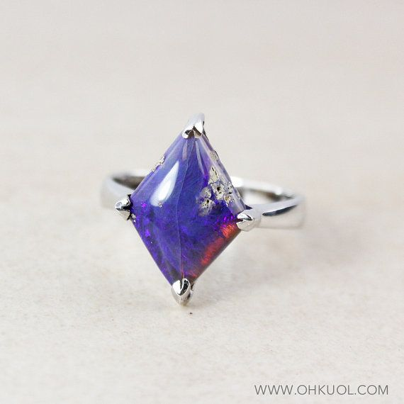 Violet Blue Australian Opal Ring  Free Form  Silver by OhKuol