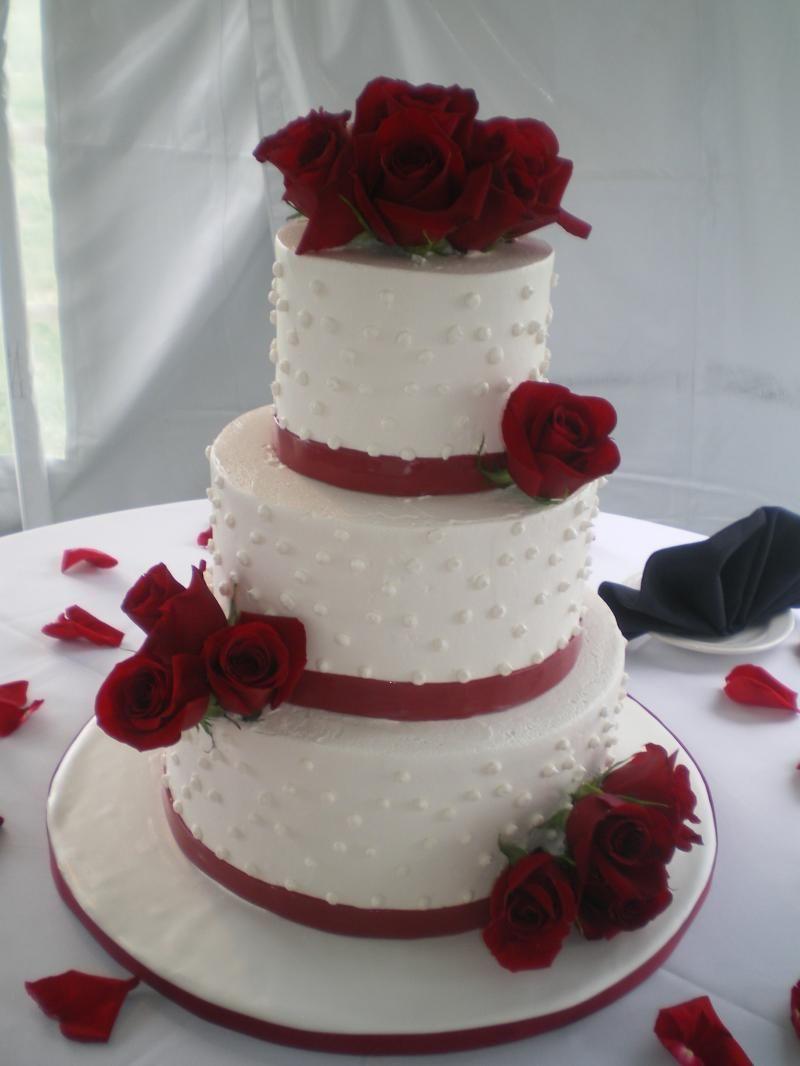 Ercream Wedding Cakes Three Tiered Round Cake With Red Roses Fondant