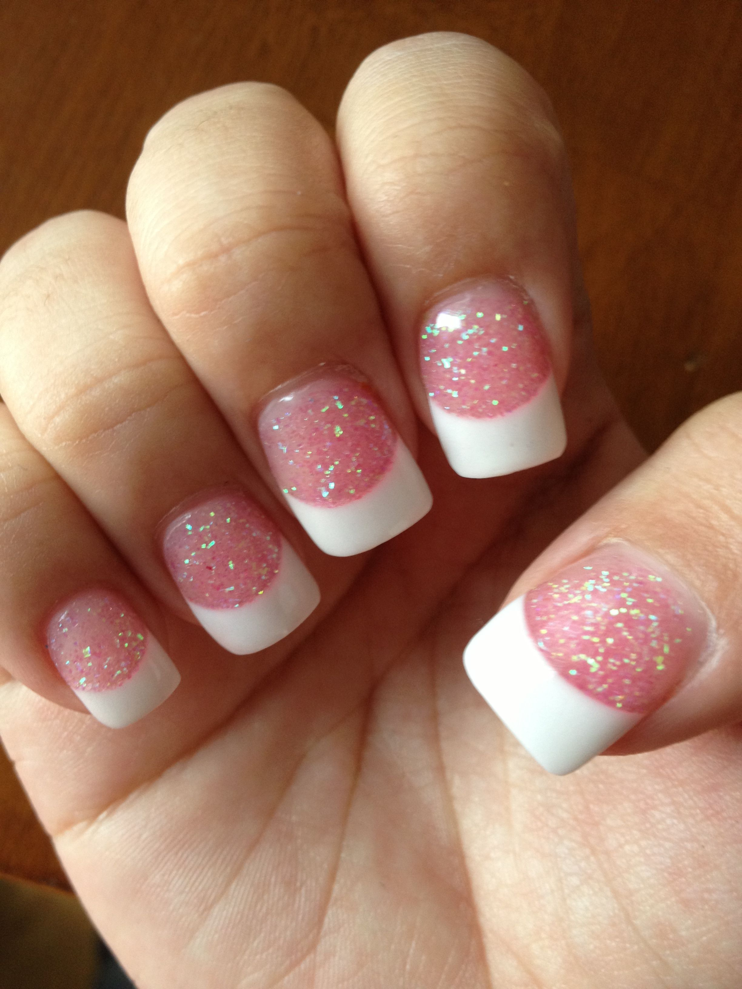 Acrylic nails- white tip with pink glitter base. | Nails