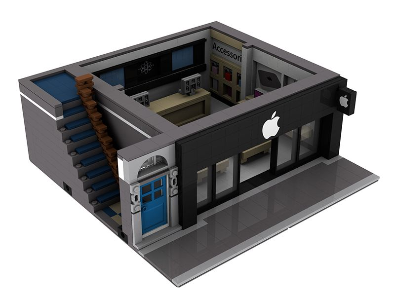MOC] Modular Apple Reseller With Apartment - LEGO Town ... | Lego ...