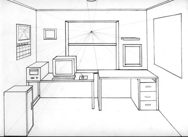 1 Point Perspective Drawing Room One Point Perspective