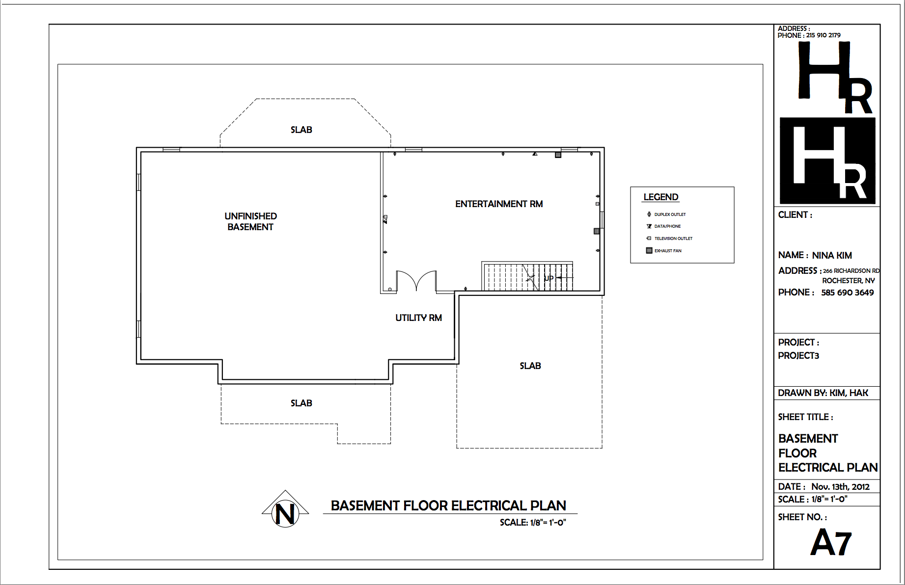 basement floor electrical plan portfolio autocad basement [ 1843 x 1192 Pixel ]