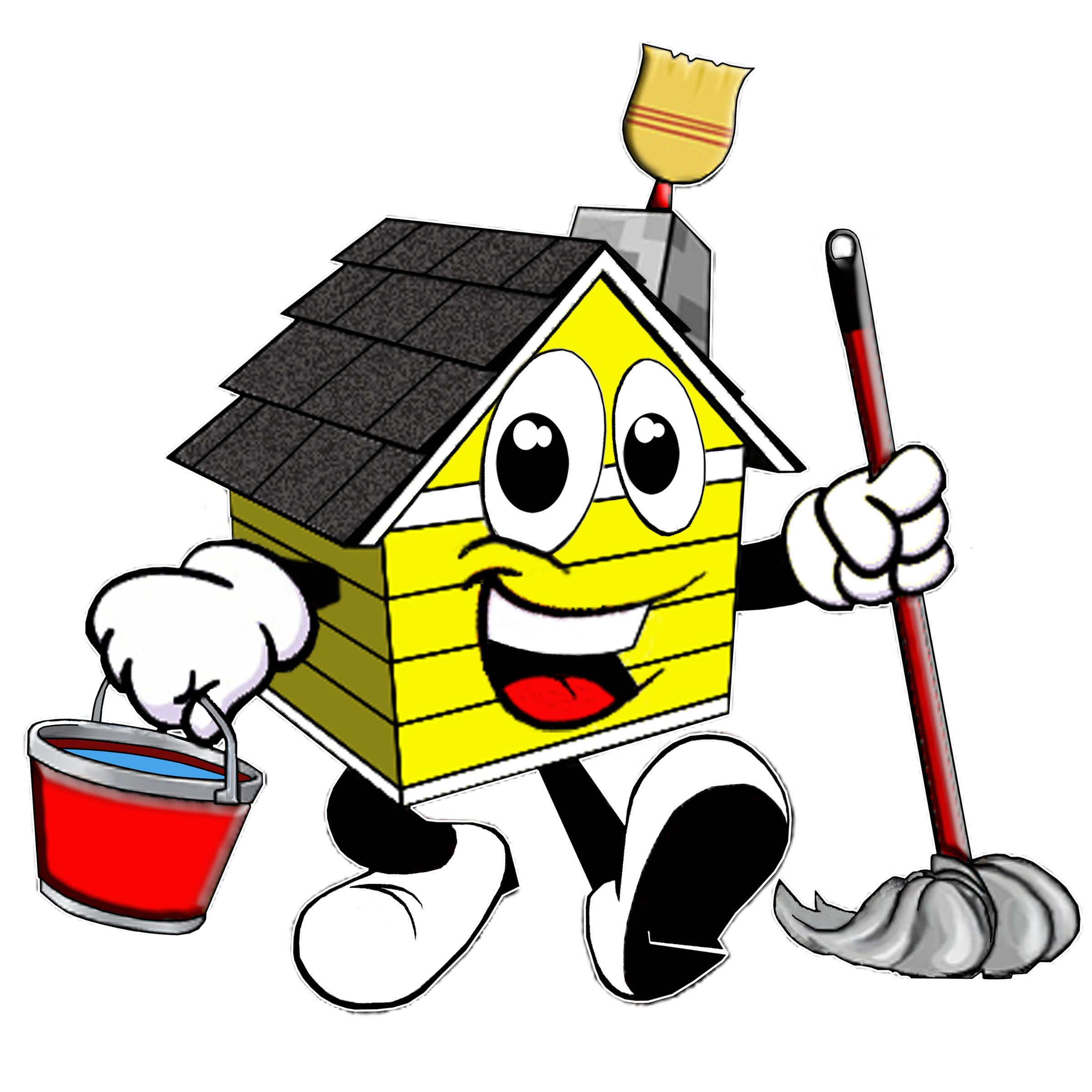 House Cleaning Professional Cartoon Cleaning Logos